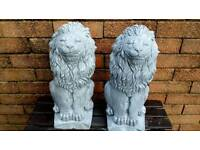 TWO LION GARDEN STATUES