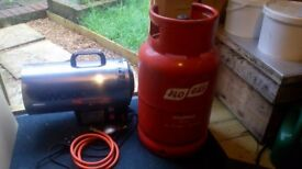 Work zone propane/electric space heater with 11kg gas bottle