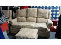 3 seater setee and single armchair with footstool