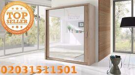 Lux 203 2 Door Sliding Wardrobe in Walnut,oak, black.wenge, white cupboard, cabinet, full Mirror