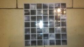 Ceramic kitchen/bathroom tiles, brand new, black-white-grey check, 11 tiles