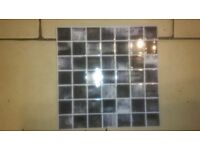 Ceramic kitchen/bathroom tiles, brand new, black-white-grey check, 11 tiles