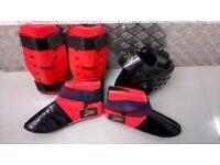 Macho/Force martials arts protective helmet, shin and foot pads