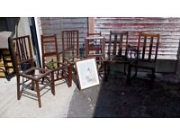 6 Chairs and 2 Picture Frames for up-cycling.