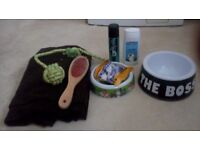 Dog starter pack, blanket,shampoos,brush,bowls,treats and toy