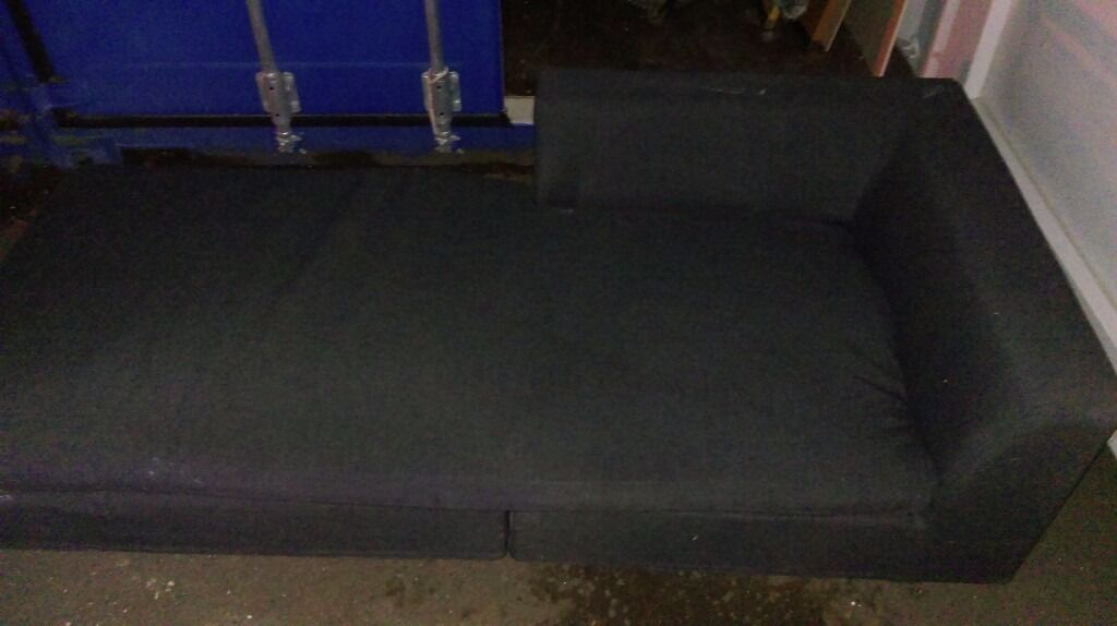 Black Fabric 2 Seater / Sofa / Bed
