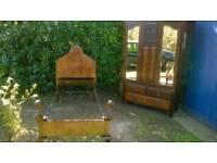 Edwardian wardrobe and matching single bed frame