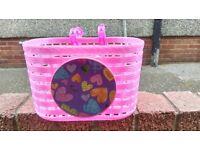 Girls pink plastic bike basket