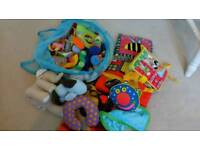 Selection of baby soft toys, books, play things etc