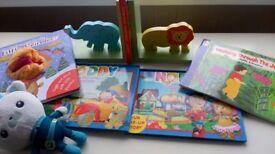 Animal book end stand & books (Noddy pop up /puppet reindeer),