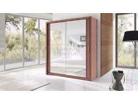 Lux 203 2 Door Sliding Wardrobe in five colours cupboard, cabinet full Mirror wenge walnut black oak