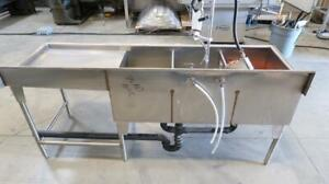 Stainless Steel Commercial Counter Top W/ 3 Sinks