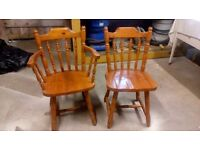 2 x Pine Chairs - One Arm Chair and one side chair - Looking for £10 per chair ONO