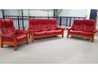 Ekornes Stressless 3 + 2 + 1 seater recliner sofas & chair cherry Leather suite