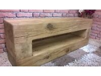 OAK TV UNIT/STAND- MADE WITH FRENCH AIR DRIED OAK BEAM-HAND MADE QUALITY