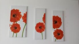 Red Flower Picture in Three Parts