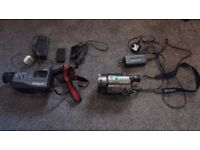 TWO 8MM VIDEO CAMERAS FOR REPAIR OR PARTS