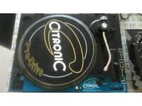 2x Citronic PD-1 Pro Drive Turntables. SA-909 Stereo Mixer/Equaliser & 17 dance/trance Vinyl EPs