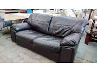 Dark brown leather sofa bed