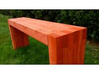 Hand made, coated new wooden bench for sale.