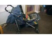 Cosatto Duet lite -Double Tandem-Twins Pushchair umbrella Fold-Black and multicoloured stripe