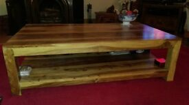 Large acacia wood coffee table