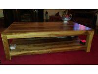 Large acacia wood coffee table