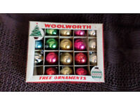 1940's ORIGINAL BOX WOOLWORTH TREE ORNAMENTS BAUBLES