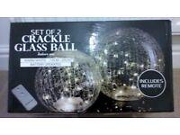 Set of 2 Crackle Glass LED Orb Lights
