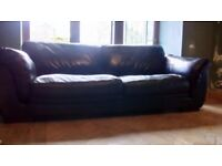 2 and 3 seater leather sofa black
