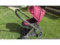 Oyster travel system. Great condition. Including black carry cot and forward/reverse pushchair.