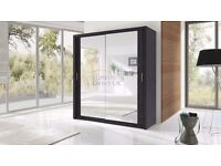 Lux 203 2 Door Sliding Wardrobe,cupboard, cabinet, full Mirror