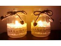 Mr & Mrs tea light holder jars for wedding
