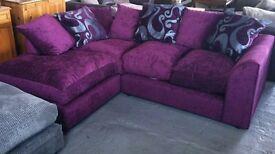 Aubergine/purple chenille corner sofa with cushions