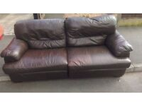 Top quality 2 and 3 seater brown leather sofa