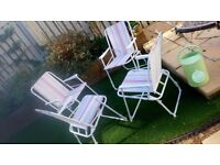 4 Vintage B&Q Foldable Candy Stripe Metal Camping Beach Chairs