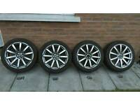 18 INCH ALLOY WHEELS 5x112 WITH GOOD TYRES