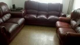 3 +2 +2 dark red leather sofas