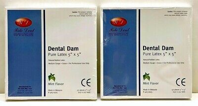 Dental Natural Rubber Dam Green Medium Mint 5 X 5 Sheets Latex Kit2 Goma Dique