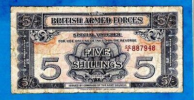 England M20a 5 Shillings ARMED FORCES 2nd Series W/Strip Prefix CC/4 1948 RARE