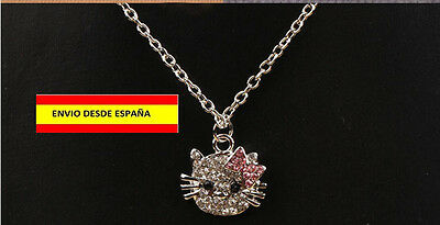COLLAR HELLO KITTY CADENA ABALORIO DAMAS NIÑAS COLGANTES MUY VISTOSO Y BELLO