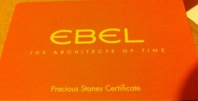 Rare New Genuine Swiss Ebel Diamond Watch Owners Plastic Information Card