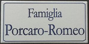 Targa nome incisa su piastrella di ceramica 7 5x15 cm - Piastrella 7 5x15 bianche ...