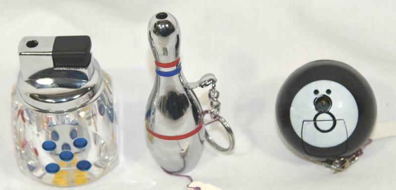 3 VINTAGE NOVELTY DICE/ EIGHT-8 BALL/BOWLING PIN CIGARETTE LIGHTER-KEYCHAIN LOT