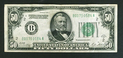 1928 A $50 Dollar Federal Reserve Note , New York, NY. Perfect Holiday Gift!!