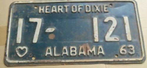 1963 ALABAMA  17 121 LICENSE PLATE~TAG