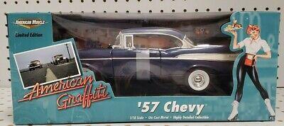 ERTL 1:18 1957 Chevy Bel Air Dark Blue American Graffiti Diecast Model 36604 NEW