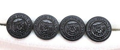 "WWII US Maritime Service Black Coast Guard buttons 5/8"" 16mm 24L lot of 4 B004"