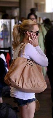 New $1,890 Fendi Mia Dark Brown Leather Handbag