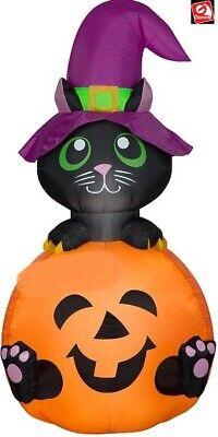 HALLOWEEN INFLATABLE AIRBLOWN BLACK CAT WITCH PUMPKIN 5.5 FT GEMMY